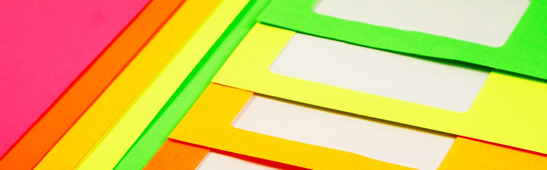 sobres de color neon